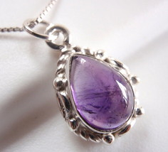 Small Amethyst Necklace 925 Sterling Silver Rope Style Decor on Sides New - $14.97