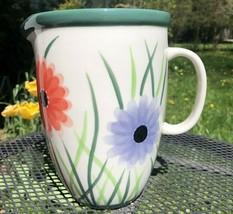 "Starbucks Ceramic Pitcher Floral Garden Barista 2003 Large 8"" tall 5.5 o... - $14.84"