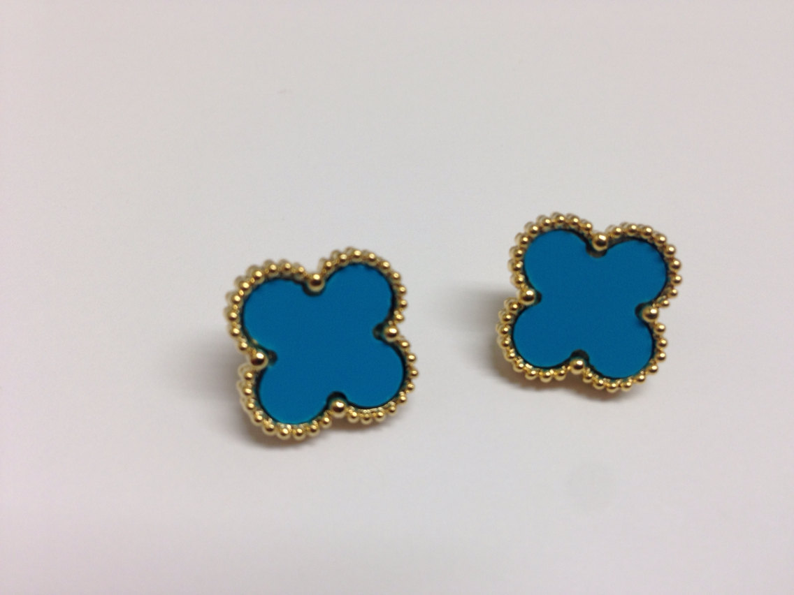 Clover turquoise Gold Earrings.