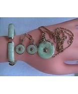 14k Yellow Gold Apple Green Jade Necklace, Bracelet & Earrings Set - $750.00