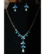 Avon Blue Demi-parure Glass Drop Necklace & Earrings Set - $12.00