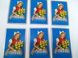 Set of 6 Dutch Girl Holding Flowers Playing Cards for crafting collage repurpose image 2