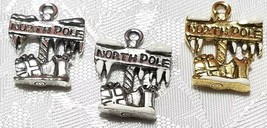 THE NORTH POLE SIGN FINE PEWTER PENDANT CHARM - 15mm L x 20mm W x 3mm D