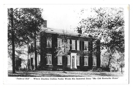 Bardstown KY Federal Hill Stephen Foster My Old Kentucky Home Glossy Postcard - $4.50