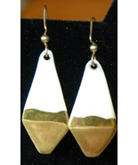 Vintage White & Gold Earrings Ceramic Artisan - $9.00