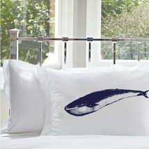 Two for 25 Navy Blue Whale White Nautical Pillowcase pillow cover ocean sea - $24.99