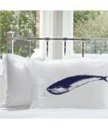 Two for 25 Navy Blue Whale White Nautical Pillowcase pillow cover ocean sea - $24.99