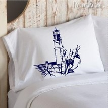 Two for 25 Navy Lighthouse Light House pillowcase pillow case cover nautical bed - $24.99