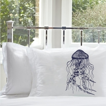 Two for 25 Navy Blue Jellyfish pillowcase pillow case cover jelly fish Nautical - $24.99