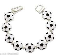 Soccer Ball Bracelet Magnetic Link Jewelry Sports Mom Kick Field Score 7... - $15.47