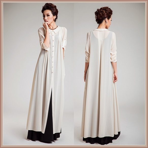 Ivory Long Chiffon Extra Length Coat Dress w/ Peter Pan Collar Button Up Front
