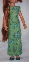 Mod Vintage 197o's Ideal  Crissy Doll Long Green Floral Gown Dress - $18.00