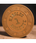"""1970's Roulette Casino Chip From: """"Harolds Club Casino"""" - (sku#2622) - $8.99"""