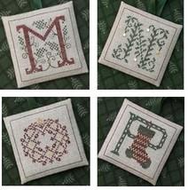 Alphabet Ornaments Four M-N-O-P cross stitch chart Drawn Thread - $9.00