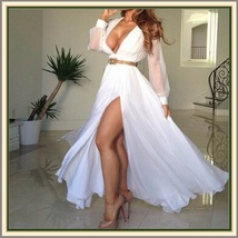 White Transparent Sleeved Deep V Neckline Leg Split Chiffon Evening Party Gown