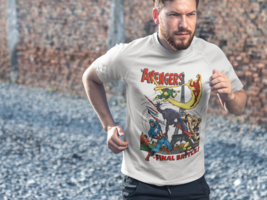 Avengers T-shirt Dri Fit graphic moisture wicking SPF retro comic book Sun Shirt image 4