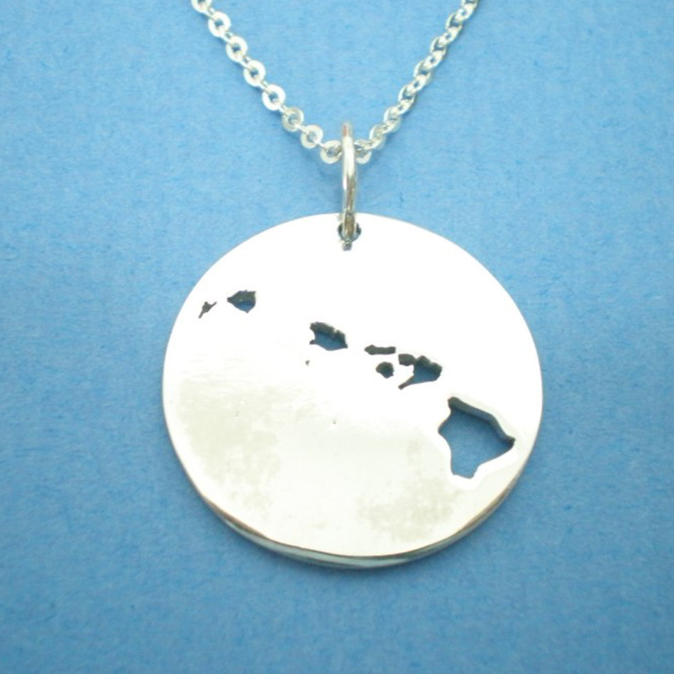 HI Hawaii Necklace State Outline Necklace Map Jewelry ...