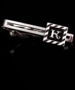 Vintage Initial K Tie clip - silver diamond cut stripes - Initial jewelr... - $65.00