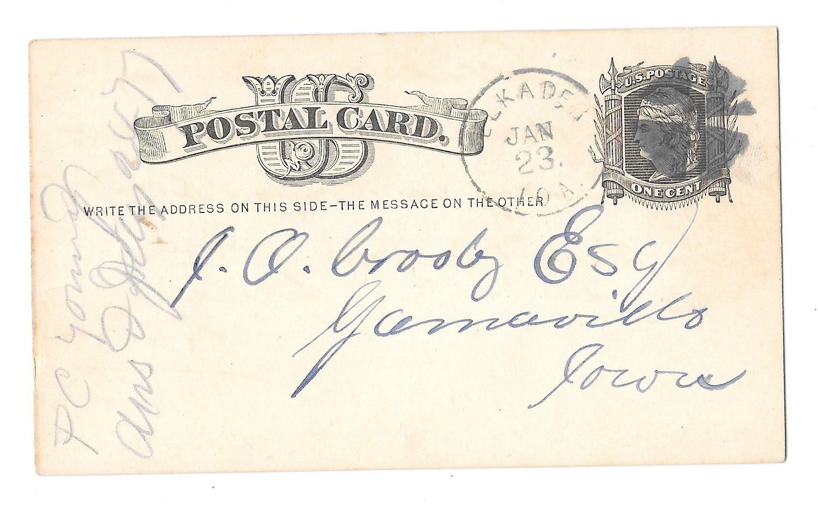 Scott UX5 Elkader IA Iowa 1877 to Garnavillo Fancy Cork Cancel Geometric Wedges