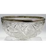 ABP Glass Antique  Bowl Hand Cut Crystal Sterling Silver Rim 800 preytac - $116.53