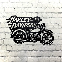 Metal art- 16 gauge steel in black- Harley Davidson motorcycle wall sign - $45.00