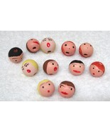 "Set of 11 Hand Painted Doll Angel Heads Christmas Ornaments Wood 5/8""  D4 - $12.38"