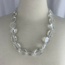 Chunky Clear Plastic Acrylic Beaded Necklace Faux Crystal Fashion Costume - $14.80