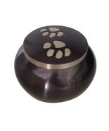 Paw Memorial Urns Ashes For Pets - Classic Round Paw Print Pet Cremation... - $65.28