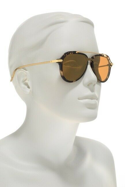 DOLCE & GABBANA PRINCE DG4330 Gold Beige Havana Mirrored Sunglasses  Unisex image 5