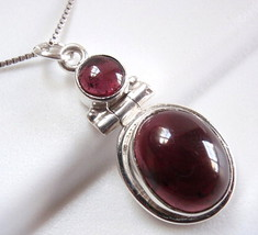 Garnet Necklace 925 Sterling Silver Double-Gem Round Oval New #114z - $18.46