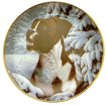Danbury Mint Boxer Dog plate by Simon Mendez Footprints in the Snow CP2287 - $45.45
