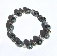 Hawaii Made Stretch Bracelet Sterling Silver Crystal Snowflake Obsidian ... - ₨2,506.19 INR