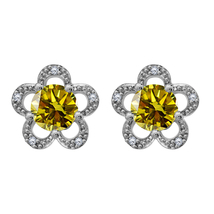 18k White Gold Fn 0.73 Ct Round Citrine & Diamond Flower Shape Stud Earr... - $57.90