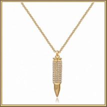 Brand New Sparkling Rhinestone Encrusted 18k Gold Plated Bullet Pendant Necklace