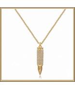 Brand New Sparkling Rhinestone Encrusted 18k Gold Plated Bullet Pendant ... - $40.95