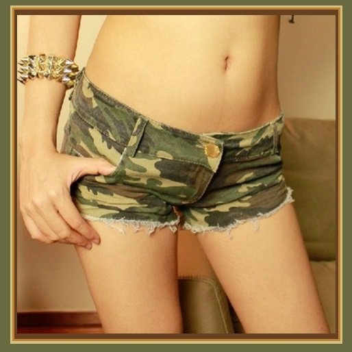 Low Waist Casual Canvas Ripped Denim Short Shorts Green Army Camo Jean Pants