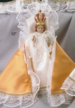 Infant Jesus of Prague - 12 inch Statue with Gold Satin Gowned