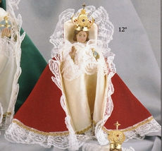 Infant Jesus of Prague - 12 inch Statue with Red Velvet Gown