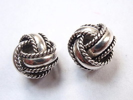 Bali 8mm Knotted Stud Earrings 925 Sterling Silver Corona Sun Rope Style... - $23.75