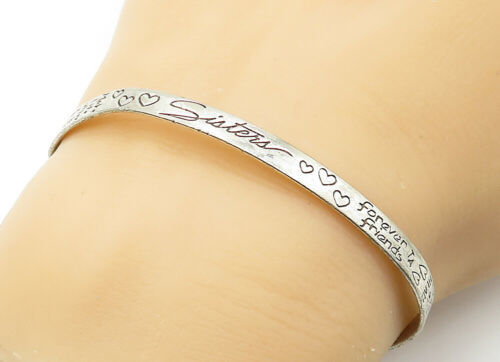 925 LA Silver - Vintage Etched Forever Friends Thin Cuff Bracelet - B6320 image 1