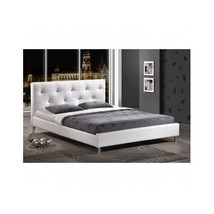 Queen Size Bed Platform Studio Room Home White Modern Crystal Button Tufting New - $508.97