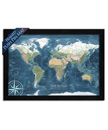 World Map Push Pin - Mounted on Pin Board and Framed - The Voyager 2 Wor... - $123.87