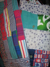 Vtg Lot of 2 Primitive Hand Made Quilt Gee's Bend STYLE Rustic Wall Hanging - $24.95