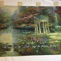 "The Garden of Prayer Tapestry Wallhanging 36"" x 26"" Thomas Kinkade - $19.34"