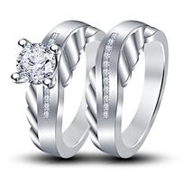 925 Silver 14k White Gold Finish Simulated Diamond Bridal Ring Set Free Shipping - $79.77