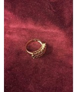 Size 6 Ring Silver Gold Colored with 22 Red Stones - $10.74