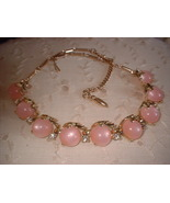 """Vintage Pink Thermoset Moon Glow Necklace Marked """"CORO"""" - $20.00"""