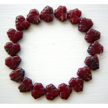 Red Brown Molten Color Opaque Hurricane Czech Glass Leaf Beads - $7.50