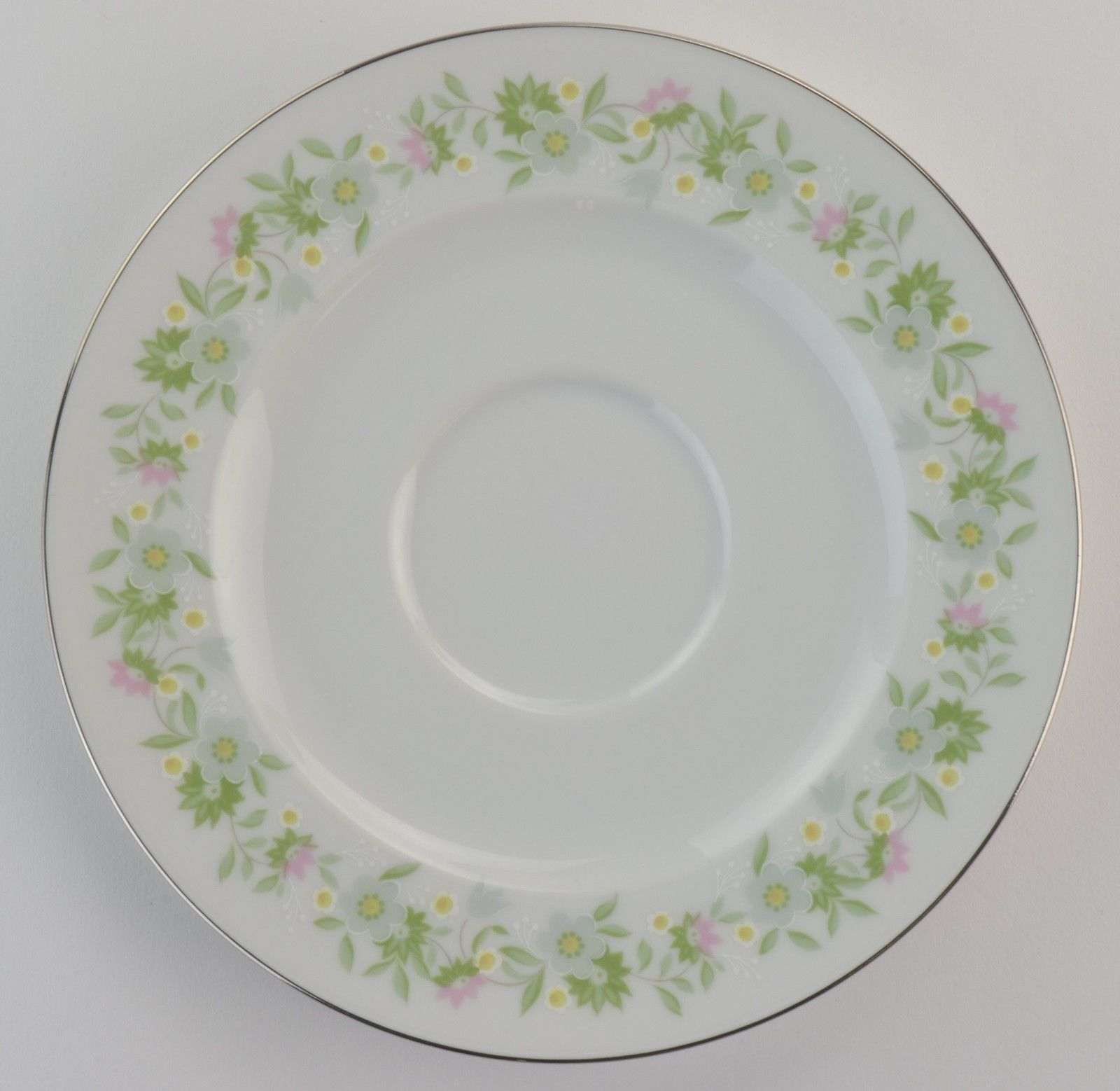 Johann Haviland China Forever Spring Footed Cup Saucer Floral Flower Platinum - $3.99