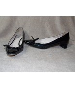 Prada Cut Out Black Patent BRAIDED BOW Kitten Heels Pumps 40 Used - $270.26